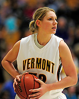 5 December 2009: University of Vermont Catamount center Alissa Sheftic, a Senior from Essex Junction, VT, in action against the Manhattan College Jaspers at Patrick Gymnasium in Burlington, Vermont. The Catamounts defeated the visiting Jaspers 78-59 to mark the Lady Cats' second home win of the season. Mandatory Credit: Ed Wolfstein Photo