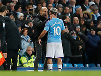 Sport Bilder des Tages Josep Guardiola manager of Manchester City greets Sergio Aguero of Manchester City as he substitutes him during the Premier League match at the Etihad Stadium, Manchester. Picture date: 23rd November 2019. Picture credit should read: Darren Staples/Sportimage PUBLICATIONxNOTxINxUK SPI-0317-0037<br /> Foto Imago/Insidefoto <br /> ITALY ONLY
