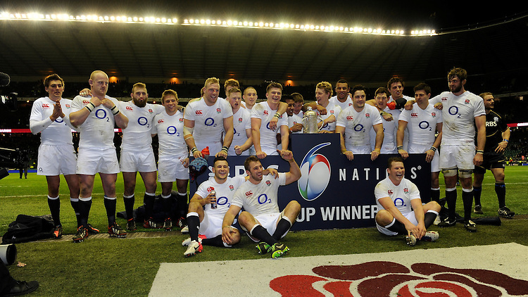 England players celebrate winning the RBS 6 Nations Calcutta Cup match (38-18) between England and Scotland at Twickenham on Saturday 02 February 2013 (Photo by Rob Munro)