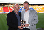St Johnstone Player of the Year Awards 2014-15.....16.05.15<br /> Peter Ogilvie presents the We Are Perth Exiles Young Player of the Year Award to Scott Brown<br /> Picture by Graeme Hart.<br /> Copyright Perthshire Picture Agency<br /> Tel: 01738 623350  Mobile: 07990 594431