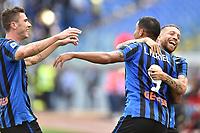 Luis Muriel of Atalanta BC (C) celebrates after scoring the goal of 0-2 with Alejandro Papu Gomez (R) and Robin Gosens of Atalanta <br /> Roma 19-10-2019 Stadio Olimpico <br /> Football Serie A 2019/2020 <br /> SS Lazio - Atalanta<br /> Foto Andrea Staccioli / Insidefoto