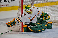 29 December 2018: University of Vermont Catamount Goaltender Stefanos Lekkas, a Junior from Elburn, IL, reaches for his stick during the third period against the Rensselaer Engineers at Gutterson Fieldhouse in Burlington, Vermont. The Catamounts rallied from a 2-0 deficit to defeat RPI 4-2 and win the annual Catamount Cup Tournament. Mandatory Credit: Ed Wolfstein Photo *** RAW (NEF) Image File Available ***