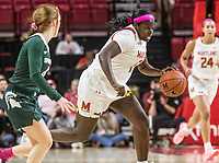 COLLEGE PARK, MD - FEBRUARY 03: Ashley Owusu #15 of Maryland powers forward during a game between Michigan State and Maryland at Xfinity Center on February 03, 2020 in College Park, Maryland.