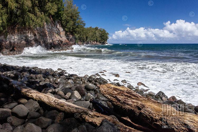 View of the ocean from Kolekole Beach Park in Honomu, Big Island.