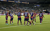 KANSAS CITY, KS - JULY 15: Daryl Dike #11 of the United States scores and celebrates during a game between Martinique and USMNT at Children's Mercy Park on July 15, 2021 in Kansas City, Kansas.