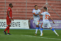 RIONEGRO - COLOMBIA, 01-05-2019: Ray Vanegas (#30) del Pasto celebra después de anotar el primer gol de su equipo al Medellín durante partido por la fecha 19 Final entre Rionegro Águilas y Deportivo Pasto como parte de la Liga Águila I 2019 jugado en el estadio Alberto Grisales de la ciudad de Rionegro. / Ray Vanegas (#30) player of Pasto celebrates after scoring the first goal of his team to Medellin during Match for the date 19 between Rionegro Aguilas and Deportivo Pasto as a part Aguila League I 2019 played at Alberto Grisales stadium in Rionegro city. Photo: VizzorImage / Leon Monsalve / Cont