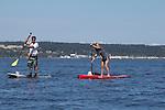 Port Townsend, Rat Island Regatta, rowers, kayakers, standup paddlers, racing, Sam Cunard; Alison Cunard, SUP, Sound Rowers, Rat Island Rowing Club, Puget Sound, Olympic Peninsula, Washington State, water sports, rowing, kayaking, competition,