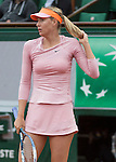 Maria Sharapova (RUS) leads Tsvetana Pironkova (BUL) in the second set at  Roland Garros being played at Stade Roland Garros in Paris, France on May 28, 2014