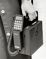 1985 FILE PHOTO - ARCHIVES -<br /> <br /> Cantel cellular phone<br /> <br /> 1985<br /> <br /> PHOTO :  Erin Comb - Toronto Star Archives - AQP