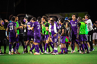 LAKE BUENA VISTA, FL - JULY 31: Orlando City SC celebrate a win during a game between Orlando City SC and Los Angeles FC at ESPN Wide World of Sports on July 31, 2020 in Lake Buena Vista, Florida.