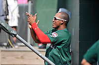 Designated hitter Carlos Mesa (28) of the Greenville Drive cheers his teammates before a game against the Charleston RiverDogs on Sunday, August 16, 2015, at Fluor Field at the West End in Greenville, South Carolina. Charleston won, 6-2. (Tom Priddy/Four Seam Images)