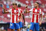 Atletico de Madrid's Marcos Llorente (l) and Saul Niguez during La Liga match. August 22,2021. (ALTERPHOTOS/Acero)