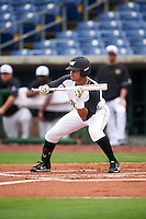 Alabama State Hornets Diandre Amion (1) squares to bunt during a game against the Ball State Cardinals on February 18, 2017 at Spectrum Field in Clearwater, Florida.  Ball State defeated Alabama State 3-2.  (Mike Janes/Four Seam Images)