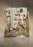 Roman Sebasteion relief  sculpture of Meleager and Atalante  Aphrodisias Museum, Aphrodisias, Turkey. Against an art background.<br /> <br /> Meleager sits on a rock tying his sandal. Below him lies a fierce hunting dog with a broad collar. On one side a god or another hero wearing a rounded hat was crowning Meleager ( arm missing). On the other side stands the huntress Atalante, Meleager's lover: she wears a short dress and quiver, and lifts her cloak at the shoulder in a gesture of modesty.