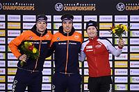 SPEEDSKATING: CALGARY: Olympic, Oval, 02-03-2019, ISU World Allround Speed Skating Championships, Podium 5000m Men, Sven Kramer (NED), Patrick Roest (NED), Sverre Lunde Pedersen (NOR), ©Fotopersburo Martin de Jong