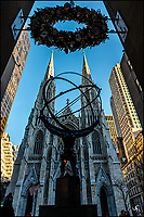 St. Patrick's Cathedral, Atlas and Christmas Wreath.