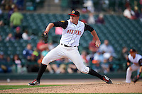 Rochester Red Wings relief pitcher Ryan O'Rourke (20) delivers a pitch during a game against the Toledo Mudhens on June 12, 2016 at Frontier Field in Rochester, New York.  Rochester defeated Toledo 9-7.  (Mike Janes/Four Seam Images)