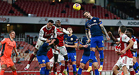17th December 2020, Emirates Stadium, London, England;  Southamptons Danny Ings jumps for a header in the Arsenal box during the English Premier League match between Arsenal and Southampton
