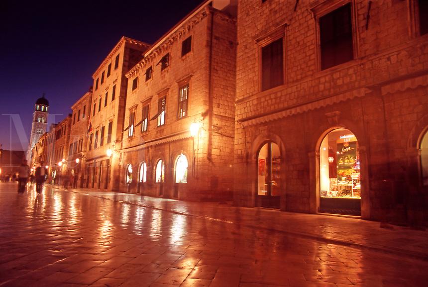 Croatia. Dubrovnik Old City. The Stradun, Placa, at night