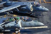 "- vertical takeoff strike aircrafts AV 8  ""Harrier""on the amphibious assault ship Nassau....- aerei da attacco a decollo verticale AV 8 ""Harrier"" a bordo della nave da assalto anfibio Nassau"
