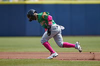 Luisangel Acuna (2) of the Down East Wood Ducks takes off for second base during the game against the Kannapolis Cannon Ballers at Atrium Health Ballpark on May 9, 2021 in Kannapolis, North Carolina. (Brian Westerholt/Four Seam Images)