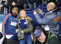 Saido Berahino of West Bromwich Albion looks happy as he poses for selfies before the Barclays Premier League match between West Bromwich Albion and Swansea City at The Hawthorns on the 2nd of February 2016