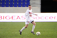 Jack Bennett (11) of the St. John's Red Storm. St. John's defeated Villanova 2-0 during the second semifinal match of the Big East Men's Soccer Championships at Red Bull Arena in Harrison, NJ, on November 11, 2011.