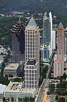 aerial photograph of Atlantic Center, Promenade and  180 Peachtree Street skyscrapers, Atlanta, Georgia