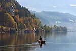 Oesterreich, Kaernten, Millstaetter See, Millstatt: Angler mit Ruderboot | Austria, Carinthia, Lake Millstatt, Millstatt: fisherman with boat