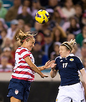 Kristie Mewis, Frankie Brown.  The USWNT defeated Scotland, 4-1, during a friendly at EverBank Field in Jacksonville, Florida.
