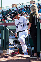 Peoria Javelinas second baseman Keston Hiura (23), of the Milwaukee Brewers organization, steps out of the dugout after being announced as the league MVP before the Arizona Fall League Championship game against the Salt River Rafters at Scottsdale Stadium on November 17, 2018 in Scottsdale, Arizona. Peoria defeated Salt River 3-2 in 10 innings. (Zachary Lucy/Four Seam Images)