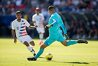CARSON, CA - FEBRUARY 1: Esteban Alvarado #1 of Costa Rica clears the box during a game between Costa Rica and USMNT at Dignity Health Sports Park on February 1, 2020 in Carson, California.