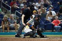 Kannapolis Cannon Ballers catcher Kleyder Sanchez (12) sets a target as home plate umpire Jacob McConnell looks on during the game against the Lynchburg Hillcats at Atrium Health Ballpark on August 28, 2021 in Kannapolis, North Carolina. (Brian Westerholt/Four Seam Images)