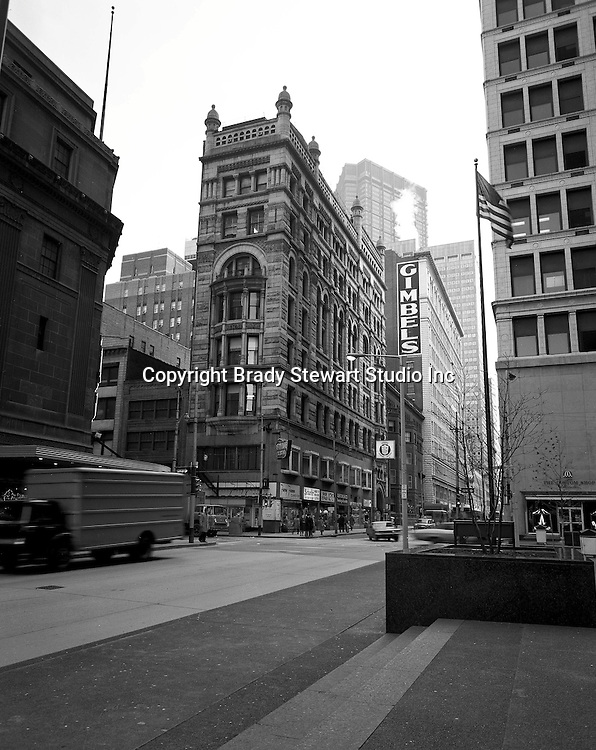 Pittsburgh PA: View east on Sixth Avenue toward the corner of  Wood Street.
