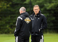 Pictured: Manager Garry Monk (R). Thursday 14 August 2014<br />