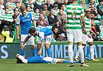 Celtic v St Johnstone …26.08.17… Celtic Park… SPFL<br />Murray Davidson lioes injured after his head clash<br />Picture by Graeme Hart.<br />Copyright Perthshire Picture Agency<br />Tel: 01738 623350  Mobile: 07990 594431
