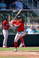 Boston Red Sox Enrique Hernández (5) bats during a Major League Spring Training game against the Atlanta Braves on March 7, 2021 at CoolToday Park in North Port, Florida.  (Mike Janes/Four Seam Images)