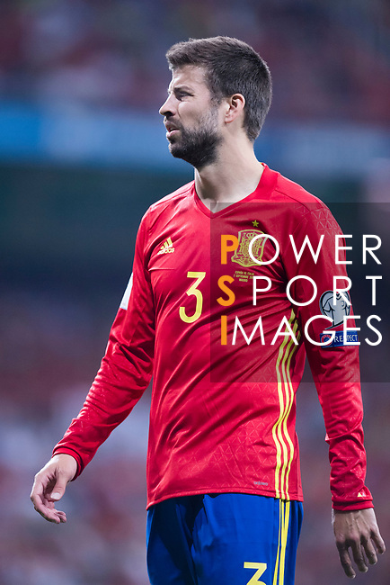 Gerard Pique of Spain reacts during their 2018 FIFA World Cup Russia Final Qualification Round 1 Group G match between Spain and Italy on 02 September 2017, at Santiago Bernabeu Stadium, in Madrid, Spain. Photo by Diego Gonzalez / Power Sport Images