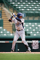 GCL Rays shortstop Luis Leon (1) at bat during a game against the GCL Orioles on July 21, 2017 at Ed Smith Stadium in Sarasota, Florida.  GCL Orioles defeated the GCL Rays 9-0.  (Mike Janes/Four Seam Images)