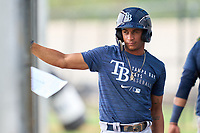 Tampa Bay Rays Jelfry Marte during an Extended Spring Training intrasquad game on June 15, 2021 at Charlotte Sports Park in Port Charlotte, Florida.  (Mike Janes/Four Seam Images)