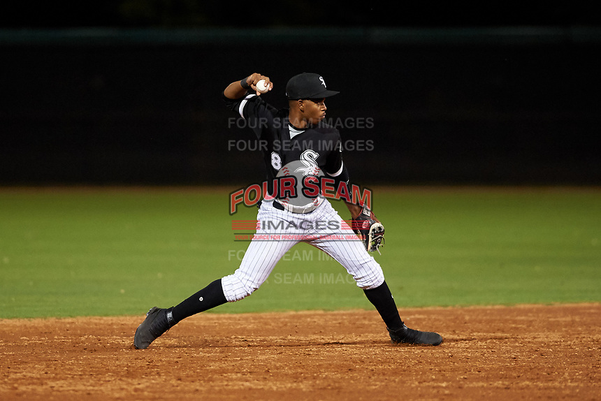 AZL White Sox shortstop Sidney Pimentel (8) throws to first base during an Arizona League game against the AZL Dodgers Lasorda at Camelback Ranch on June 18, 2019 in Glendale, Arizona. AZL Dodgers Lasorda defeated AZL White Sox 7-3. (Zachary Lucy/Four Seam Images)