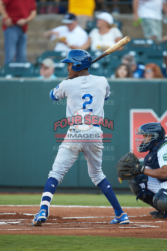 Maikel Garcia (2) of the Burlington Royals at bat against the Pulaski Yankees at Calfee Park on August 31, 2019 in Pulaski, Virginia. The Yankees defeated the Royals 6-0. (Brian Westerholt/Four Seam Images)