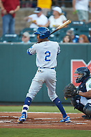 Maikel Garcia (2) of the Burlington Royals at bat against the Pulaski Yankees at Calfee Park on August 31, 2019 in Pulaski, Virginia. The Yankees defeated the Royals 6-0. (Brian Westerholt/Four Seam Images)