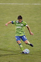COLUMBUS, OH - DECEMBER 12: Nicolas Lodeiro #10 of Seattle Sounders FC kicks the ball against Columbus Crew during a game between Seattle Sounders FC and Columbus Crew at MAPFRE Stadium on December 12, 2020 in Columbus, Ohio.