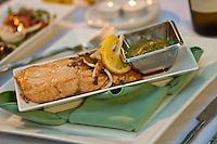 Ocean Grill Salmon entree<br /> Mongoose Junction<br /> Cruz Bay, St. John<br /> U.S. Virgin Islands