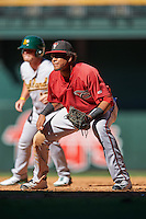 Arizona Diamondbacks Ramon Hernandez (22) holds base runner Kyle Nowlin (18) on during an Instructional League game against the Oakland Athletics on October 15, 2016 at Chase Field in Phoenix, Arizona.  (Mike Janes/Four Seam Images)