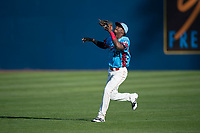 Spokane Indians right fielder Starling Joseph (39) prepares to catch a fly ball during a Northwest League game against the Vancouver Canadians at Avista Stadium on September 2, 2018 in Spokane, Washington. The Spokane Indians defeated the Vancouver Canadians by a score of 3-1. (Zachary Lucy/Four Seam Images)