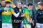 Kerry manager Fintan O'Connor and the Kerry team celebrate after winning after the Joe McDonagh hurling cup fourth round match between Kerry and Carlow at Austin Stack Park on Saturday.
