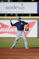 Charlotte Stone Crabs second baseman Zach Rutherford (15) throws to first base during a Florida State League game against the Bradenton Marauders on July 30, 2019 at LECOM Park in Bradenton, Florida.  Charlotte defeated Bradenton 5-0.  (Mike Janes/Four Seam Images)