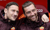 Calcio, Serie A: Roma vs Napoli. Roma, stadio Olimpico, 25 aprile 2016.<br /> Roma's Francesco Totti, left, and Morgan De Sanctis sit on the bench during the Italian Serie A football match between Roma and Napoli at Rome's Olympic stadium, 25 April 2016. <br /> UPDATE IMAGES PRESS/Isabella Bonotto